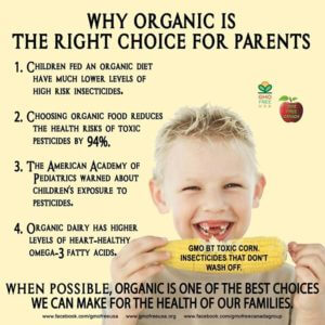 5 reasons to feed kids organic. Image of child eating corn.