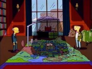 Mr. Burns showing Smithers his plan of blocking the sun